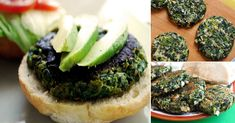 Sabrosas+hamburguesas+de+espinaca Healthy Side Dishes, Side Dish Recipes, Veggie Recipes, Diet Recipes, Vegetarian Recipes, Cooking Recipes, Healthy Recipes, Veggie Food, Hamburgers