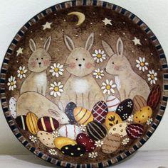 Primitive Folk Art Painting Easter Wood Bowl by RavensBendFolkArt