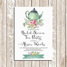 A Baby is Brewing A lovely floral baby shower tea party invitation