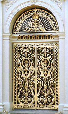 Golden ornate door of the Loo Palace in Apeldoorn, the Netherlands.