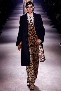 Dries Van Noten Fall 2016 Ready-to-Wear Collection Photos - Vogue...leopard panne velvet pantsuit worn a la gamine with Crombie-style overcoat, OMG...