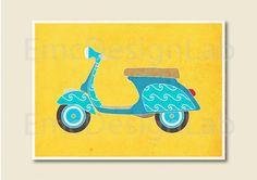 Vespa Art Print Modern Retro Poster Mod 60s Blue par EmcDesignLab, $18,00