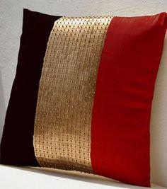 Throw Pillows, Red Black Gold Color Block Silk Beads Cushion, Metallic Pillow, Throw Pillow Cover, G Bed Cover Design, Cushion Cover Designs, Pillow Design, Red Throw Pillows, Diy Pillows, Decorative Pillows, Couch Cushion Covers, Throw Pillow Covers, Red Black