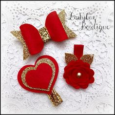 Items similar to Wool Felt Glitter Hair Clip Trio Super Sparkle Petite Size Red and Gold Love Bow Rose Heart on Etsy Hair Ribbons, Diy Hair Bows, Felt Flowers, Fabric Flowers, Felt Hair Accessories, Felt Hair Clips, Diy Hair Clips, Felt Headband, Barrettes