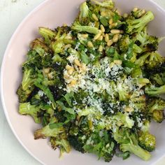 Roast the broccoli with minced garlic. Then toss with pine nuts, fresh ...