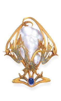 ART NOUVEAU ENAMEL, PEARL AND SAPPHIRE BROOCH / circa 1900