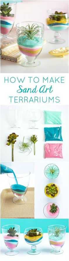 How to make DIY succulent sand art terrariums - such a pretty home decor project!