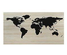 Cabecero de madera de pino World Map, natural - 150x80 cm