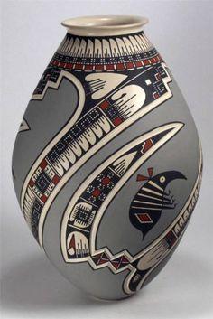 Mata Ortiz Pottery by Lazaro Ozuna Silveira Sgraffito Olla | eBay