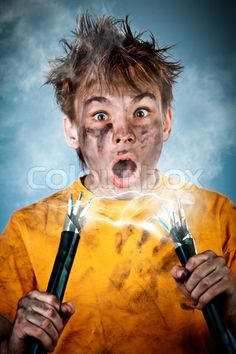 Picture of Boy has a electric shock stock photo, images and stock photography. Peace Poster, Electric Shock, Inspirational Posters, Boy Photos, Human Body, Photoshop, Stock Photos, Boys