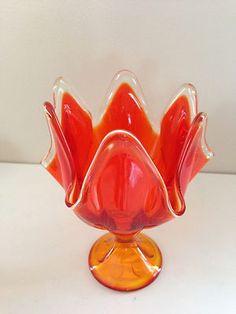 antique vintage VIKING manganese GLASS AMBERINA ORANGE HANDKERCHIEF VASE bowl