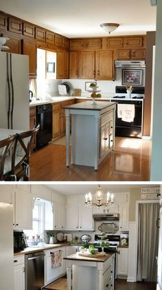 Enchanting kitchen remodel cost tricks,Small kitchen cabinets with drawers ideas and Kitchen design layout l shaped and island tricks. Redo Kitchen Cabinets, Galley Kitchen Remodel, Kitchen Redo, Rustic Kitchen, Kitchen Remodeling, Kitchen Makeovers, Oak Cabinets, Kitchen Tile, Remodeling Ideas