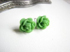 Emerald Green Rose Earrings  Dark Green by ButtonYourButtons, $8.00