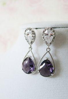 Silver Amethyst Teardrop Crystal Earrings, gifts for her, purple Bridesmaid Earrings, Bridal, purple Wedding Jewelry, Cubic Zirconia, www.glitzandlove.com