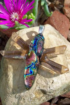Fused Glass Dragonfly Pendant (brown wings). $28.00, via Etsy.