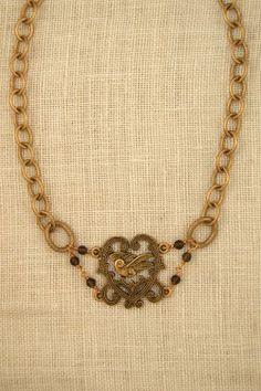 Vintage gold chocker necklace with smoky quartz stones by ExVoto VIntage Jewelry.