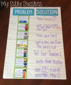 I would leave this Problem and Solution anchor chart up all year long. You could even add to it! Teachers show problems that could happen in the classroom and the students work together to find a solution.