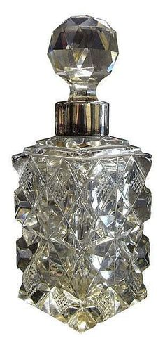 Sterling silver and cut glass perfume bottle, London 1899 - Scent Bottles - Costume & Dressing Accessories - Carter's Price Guide to Antiques and Collectables Antique Perfume Bottles, Vintage Bottles, Perfumes Vintage, Beautiful Perfume, Bottles And Jars, Glass Bottles, Bottle Art, Antique Glass, Cut Glass