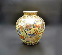 Chinese Satsuma Style Vase, Crackle Glaze With Bird And Floral Design Wood Owls, Vintage Wood, Art Deco Fashion, Gifts For Mom, Glaze, Picture Frames, Floral Design, My Etsy Shop, Chinese