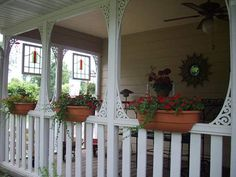 Pictures of Porches from Readers summer side porch: love the wood details, flower boxes,the ceiling fan and the hung stained glass windows! Side Porch, Back Patio, Pictures Of Porches, Front Porch Design, Porch Designs, Small Porches, Front Porches, Wood Detail, Stained Glass Windows