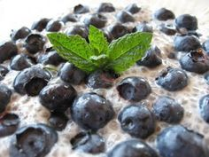 1/2 Cup of Chia seeds 2 Cups of Almond Milk 1 tablespoon of vanilla 1/2 teaspoon of cinnamon a drop or 2 or Stevia fresh Berries  Mix all ingredients except for the berries and let sit . It will expand and turn into a pudding within about 10 minutes, You can now pop in the fridge to chill or serve immediately. Top with fresh berries and your good to go.