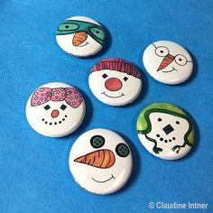 Snowman Magnets or Pins Set - Snowmen Pinback Button Or Fridge Magnets, Christmas, Cute, Snow, Winte