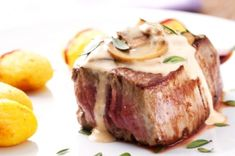 Filet mignon is the perfect way to celebrate a special occasion. Classic French … Filet mignon is the perfect way to celebrate a special occasion. Classic French cuisine gets a healthy makeover in this lightened up steak dinner. Beef With Mushroom, Mushroom Sauce, Tv Chefs, How To Cook Beef, Slow Roast, Fish And Meat, Grilled Sandwich, Food Festival, Arrows