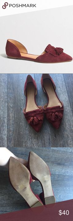 J.Crew maroon suede flats with tassels size 7.5 J.Crew Factory maroon colored flats, size women's 7.5. These flats are GREAT condition besides somewhat dirty bottoms. No scrapes or marks on the body. These have two tassels on the front. Smoke free home. These are great for a job where you need to look professional but also want to feel stylish. J.Crew Factory Shoes Flats & Loafers