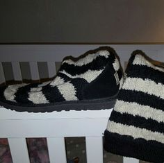 Sweater Uggs Black and cream striped sweater style uggs had for a few years but not worn very much. UGG Shoes