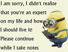 I am sorry, I didn't realize that you're an expert on my life and how I should live it! Please continue while I take notes - minion