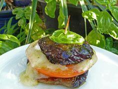 Eggplant Sandwiches, w/goat cheese, tomato & basil