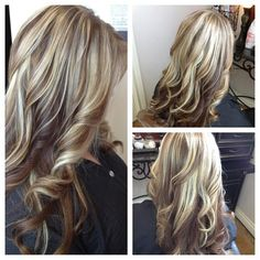 long blonde hair with red lowlights | Loosely curled layers with blonde highlights and lowlights