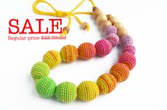 SALE! Rainbow Gradient Nursing Necklace -Teething necklace - Crocheted necklace (19.55 USD) by WoodAndYarnToys