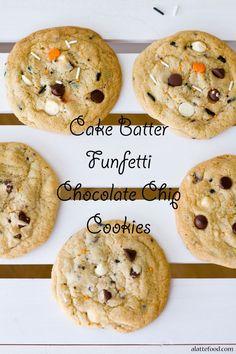 Cake Batter Funfetti Chocolate Chip Cookies   These cake batter chocolate chip cookies are made 100% from scratch