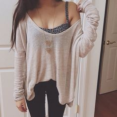 tumblr fashion • teen style • cute clothes • outfit • sweater weather • oversized sheer white sweater • autumn fall • winter cold weather