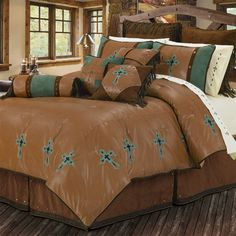 Our Las Cruces bedroom ensemble is the ultimate in inspirational luxury with high quality fabrics and rich colors of brown, caramel, and turquoise.