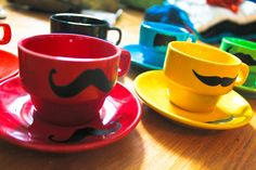 Mustache Espresso Mugs for the Bride & Groom