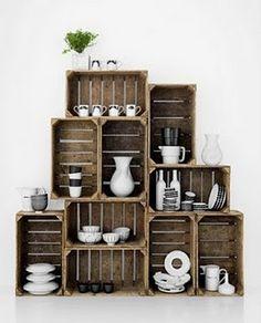 Vintage wooden crates as displays