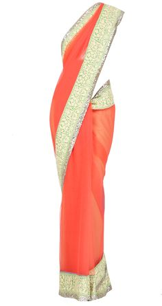 Coral net sari with lime green and yellow embroidered and sequin border available only at Pernia's Pop Up Shop
