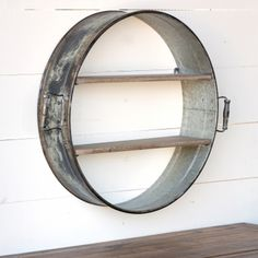 Repurposed Drum Wall Shelf is a dynamic shelf unit to add dimension and interest. Visit Antique Farmhouse for wall shelves. Wall Shelf Decor, Wall Shelves, Shelving, Wooden Shelves, Entryway Shelf, Tap Room, Repurposed Furniture, Home Remodeling, Diy Home Decor
