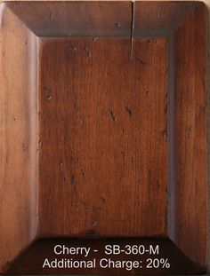 Distressed Cherry Furniture Finish | Our furniture is finished with one coat of stain and two coats of catalyzed varnish which resists moisture from penetrating the furniture.
