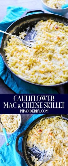 Cauliflower Mac and Cheese Skillet - I love hiding veggies in delicious gooey meals. This mac and cheese skillet takes only 20 MINUTES to make and no one will ever know you sneaked in some veggies!