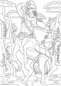 Centaur printable adult coloring page