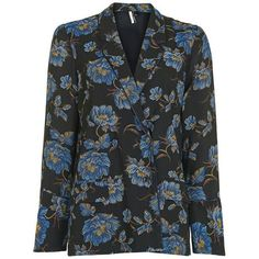 Topshop Floral Pyjama Jacket ($80) ❤ liked on Polyvore featuring outerwear, jackets, blue jackets, flower print jacket, floral print jacket, blazer jacket and topshop blazer
