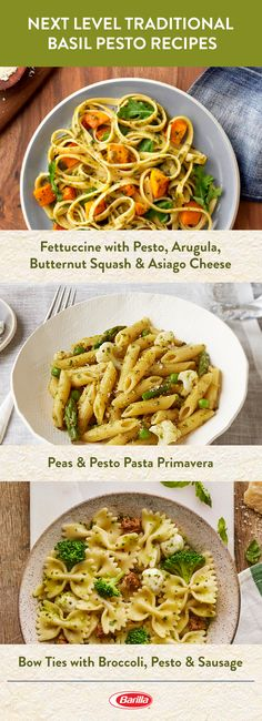 Our fresh from the garden Traditional Basil Pesto takes these pasta dishes to the next level. Save this pin for authentic family dishes and meal inspiration. Tasty Vegetarian Recipes, Diet Recipes, Chicken Recipes, Cooking Recipes, Healthy Recipes, Healthy Food, Recipies, Pesto Dishes, Health Dinner