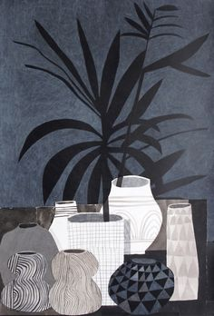 Exploring botanical still-life using mixed-media & collage, focusing on shape and patterning - image inspiration:Jonas Wood
