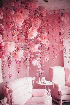 aesthetic Pink room with pink chairs and pink flowers falling / trailing from the ceiling . Pink room with pink chairs and pink flowers falling / trailing from the ceiling My New Room, My Room, Room Art, Murs Roses, Deco Rose, Pink Room, Pink Walls, Pink Wallpaper For Walls, Everything Pink