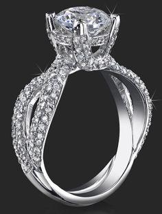 .98 ctw. Small Split Shank Micro Pave Diamond Palladium Engagement Ring