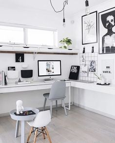 Home Office Ideas for Small Spaces. Minimal small home office size is not an obstacle for workers or entrepreneurs to do business. Currently, when you already have a mobile phone and . Home Office Inspiration, Workspace Inspiration, Office Ideas, Office Inspo, Office Designs, Home Office Space, Home Office Desks, Office Spaces, Work Spaces