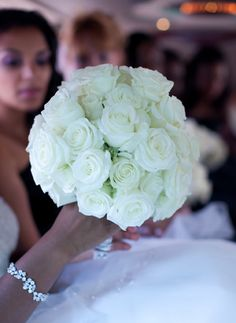 A Classic White Rose #Wedding #Bouquet